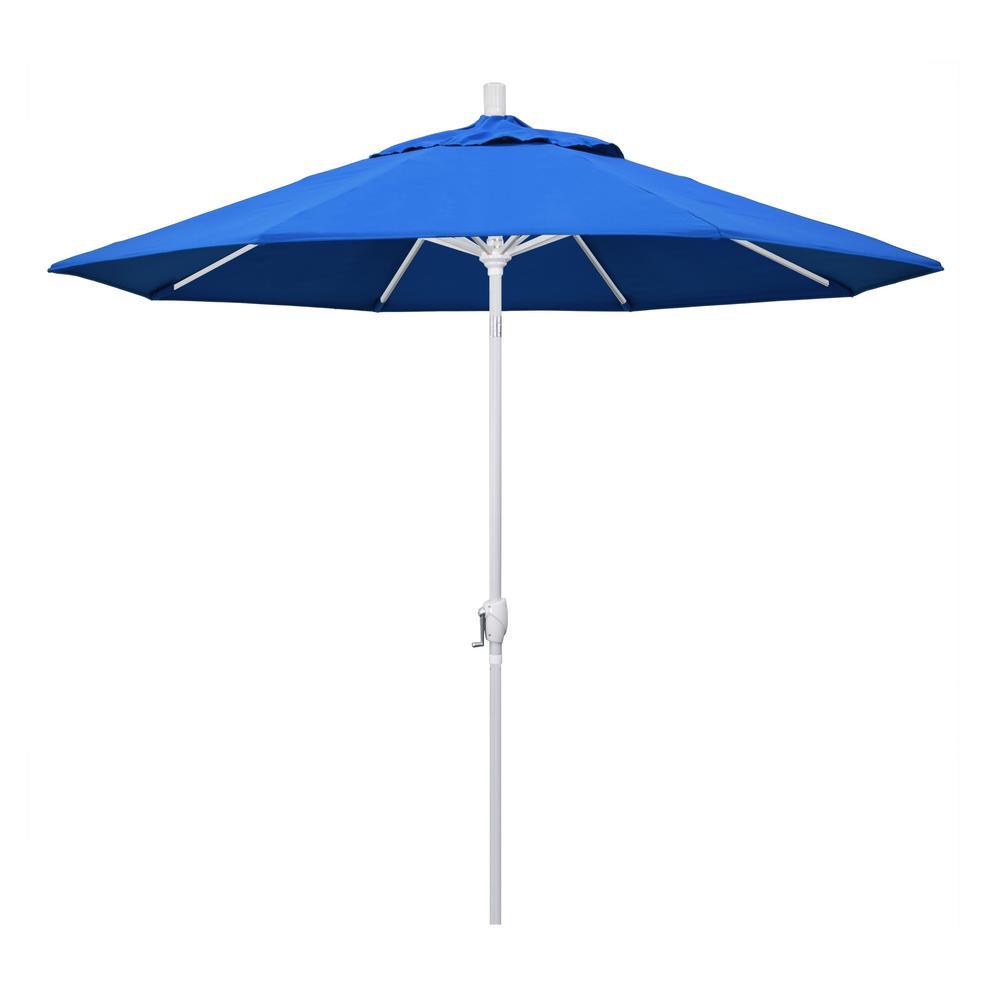 9 ft. Aluminum Market Push Tilt - M White Patio Umbrella in Royal Blue Olefin