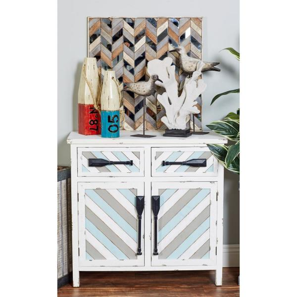 Litton Lane White Wooden Cabinet with Oar Handles and Blue and