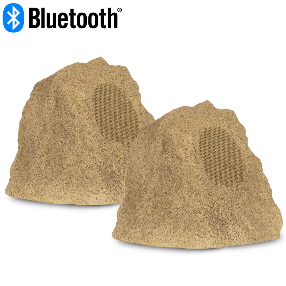 Wireless 120 Watt Rechargeable Bluetooth Rock Speaker Pair Sandstone