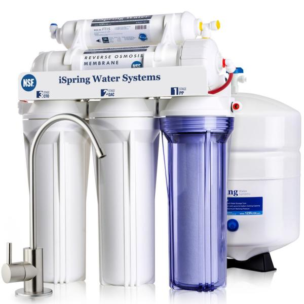 RCC7 5-Stage Under Sink Reverse Osmosis Drinking Water Filtration System with Quality Filters, 75 GPD, NSF Certified