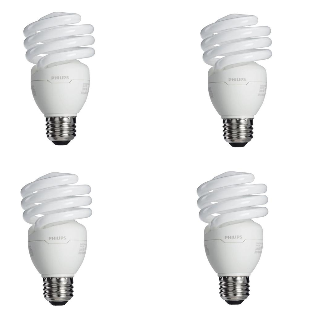 100-Watt Equivalent T2 Spiral CFL Light Bulb Soft White (2700K) (4-Pack)