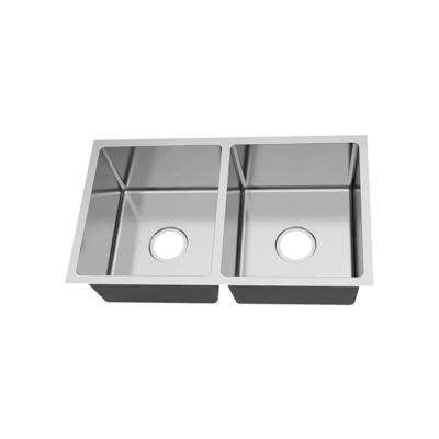 Undermount 18 Gauge Stainless Steel 31-in 0-Hole 50/50 Double Bowl Kitchen Sink