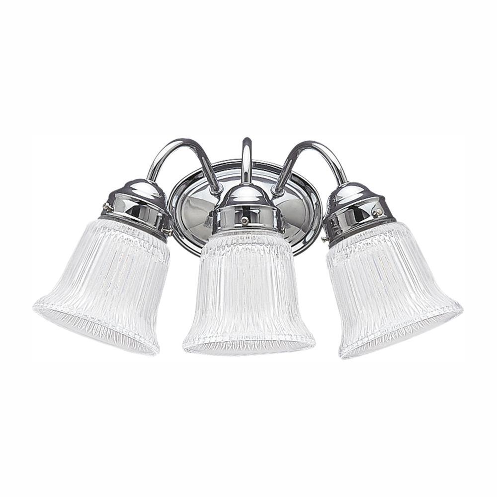 Sea Gull Lighting Brookchester 3-Light Chrome Bath Light with LED Bulbs