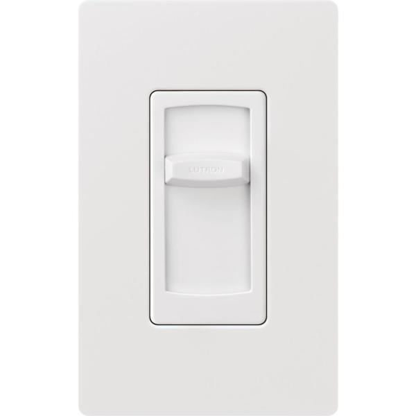 Skylark Contour Slide LED+ Dimmer Switch for Dimmable LED, Incandescent & Halogen Bulbs, Single-Pole, w/Wallplate, White