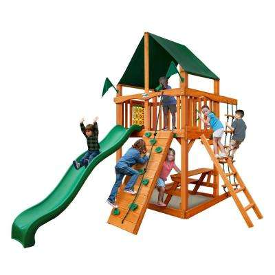 Chateau Tower with Amber Posts and Sunbrella Canvas Forest Green Canopy Cedar Swing Set