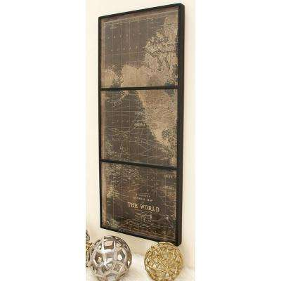 44 in. x 18 in. World Map Wall Panel in Wood and Glass (Set of 3)