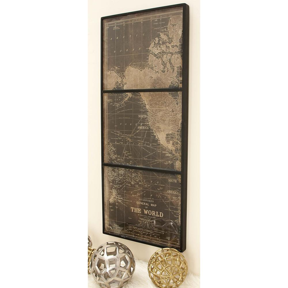 44 in x 18 in world map wall panel in wood and glass set of 3 world map wall panel in wood and glass gumiabroncs Gallery
