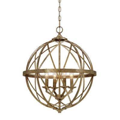 Lakewood Collection 4-Light Vintage Gold Sphere Pendant