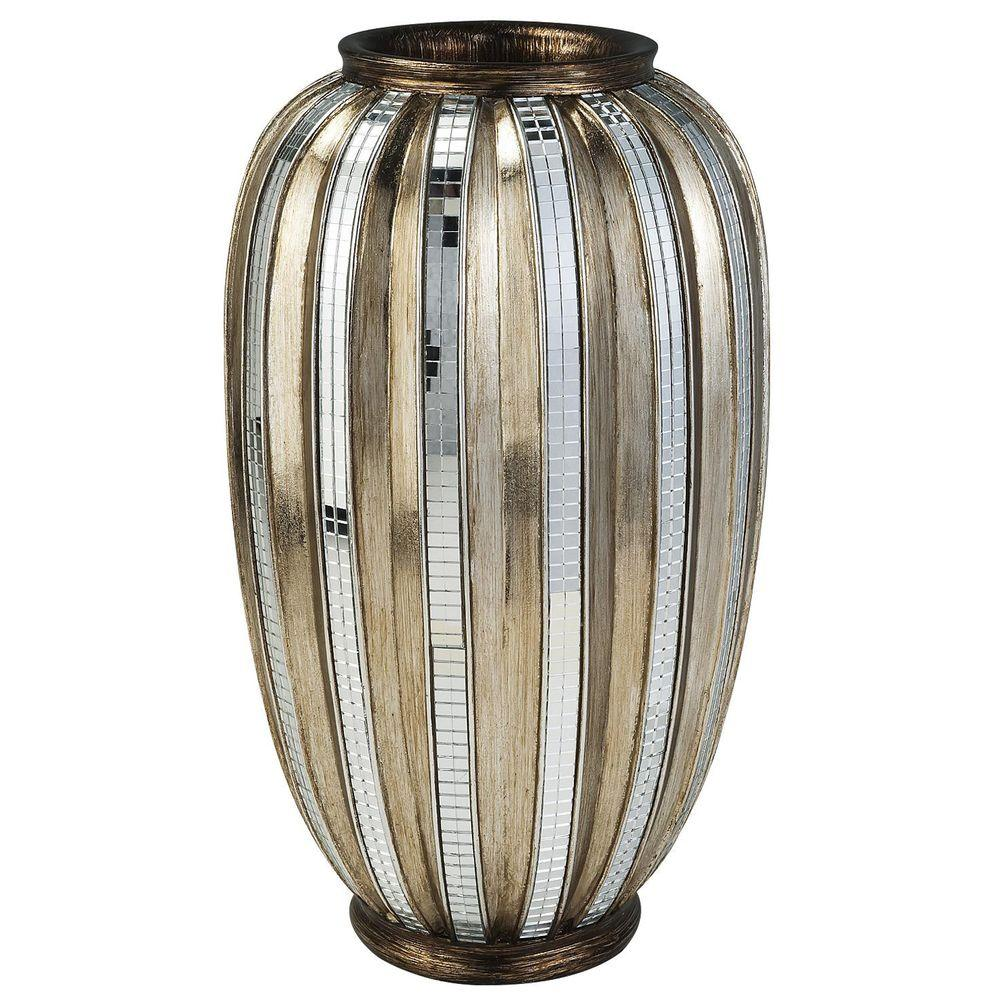 ORE International 13 in. H Silver Decorative Vase and Gold Metallic Tiles