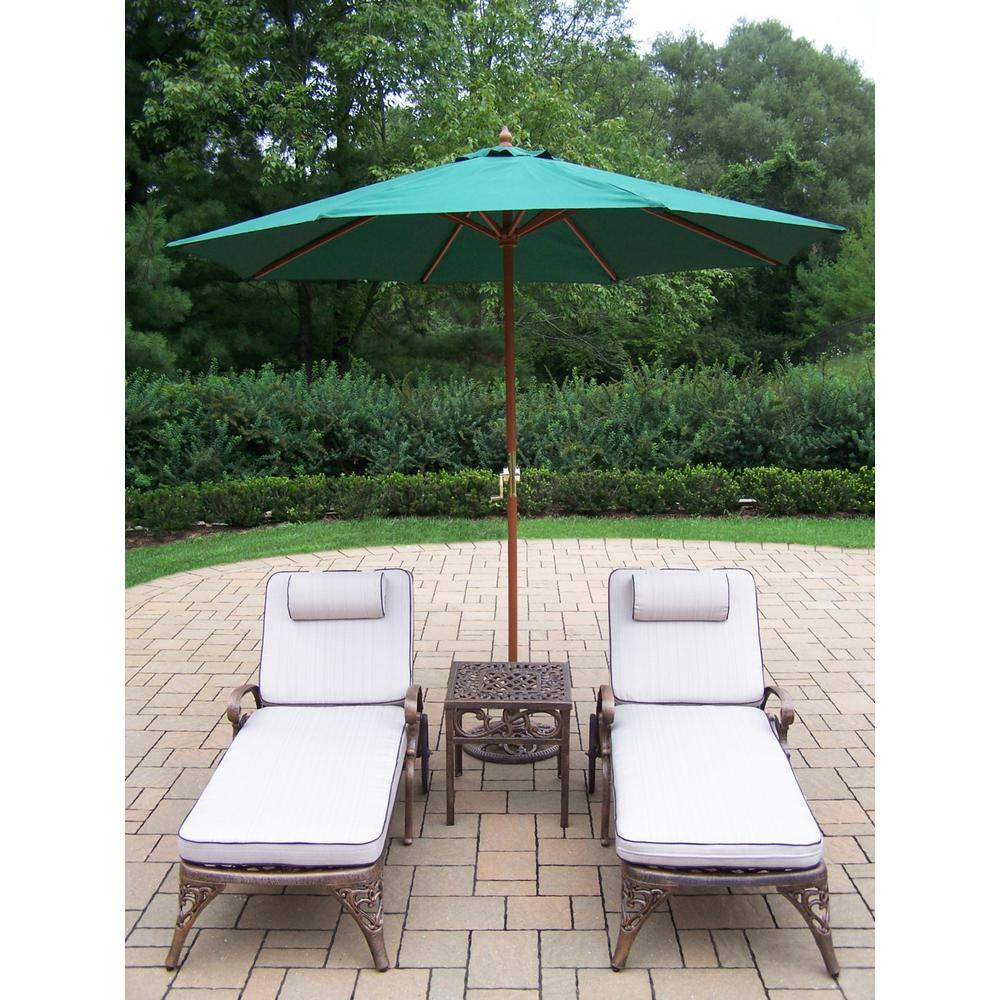 5-Piece Aluminum Outdoor Chaise Lounge Set with White Cushions and Green