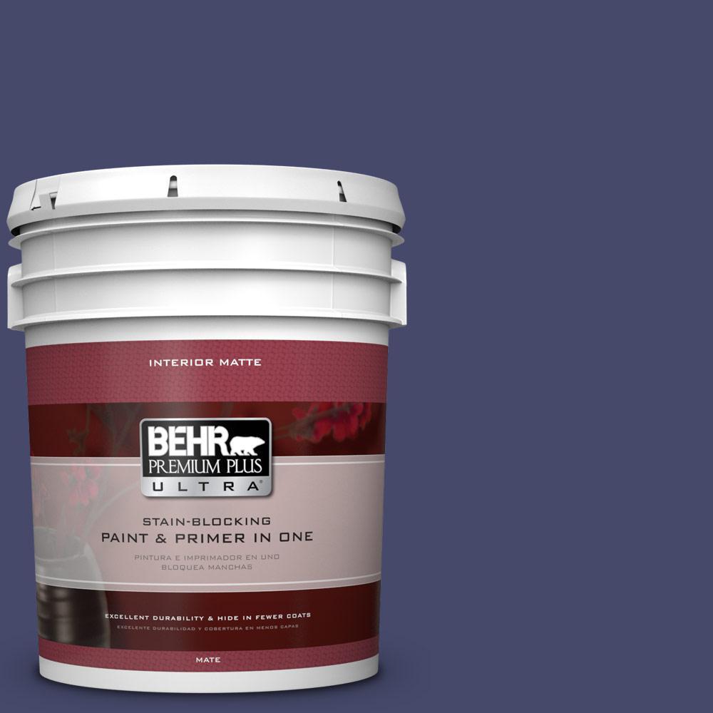 BEHR Premium Plus Ultra 5 gal. #PPU15-1 Nobility Blue Flat/Matte Interior Paint