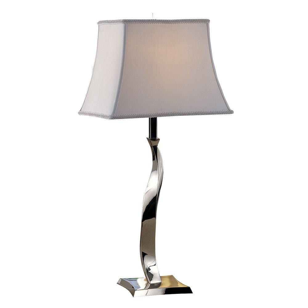 Sleek Twisted Polished Chrome Modern Table Lamp