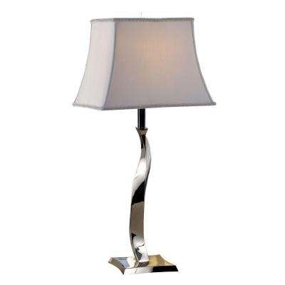 28.25 in. Sleek Twisted Polished Chrome Modern Table Lamp