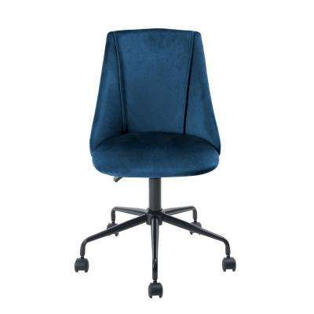 Cian Blue Velvet Swivel Office Desk Chair