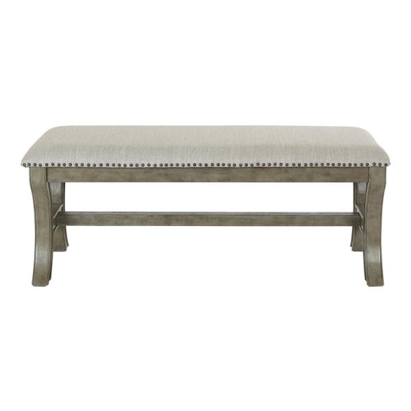 OSP Home Furnishings 48 in. Antique Grey Base in Grey Fabric