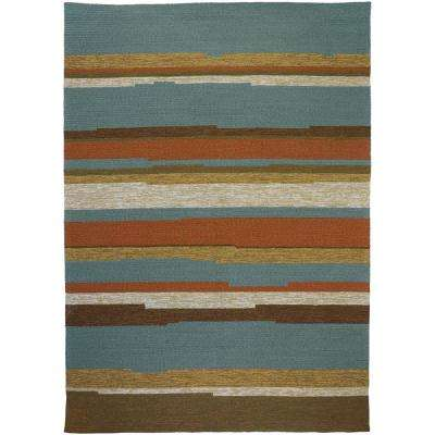 Tahitian Stripe Teal 3 ft. x 5 ft. Indoor/Outdoor Area Rug