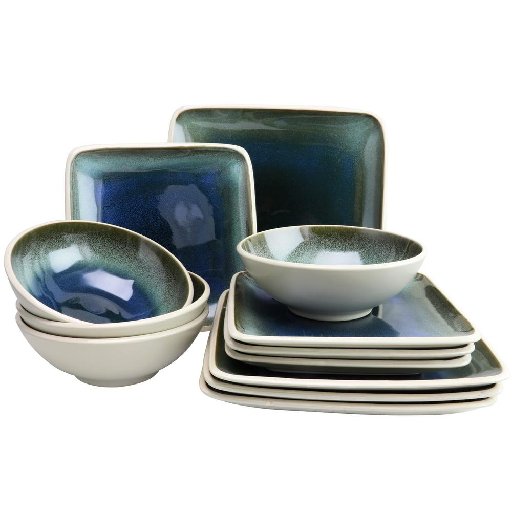 Namastay 12-Piece Blue Square Dinnerware Set