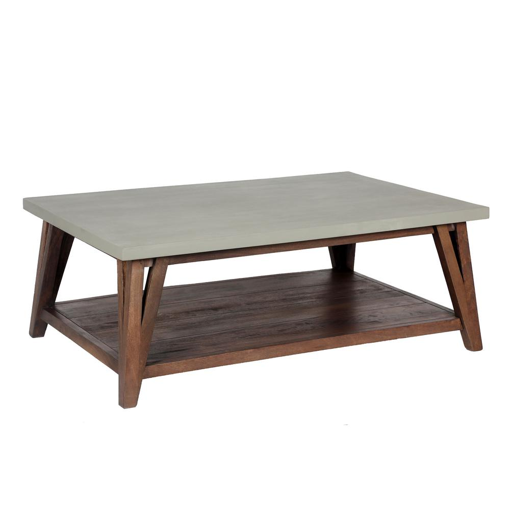 Alaterre Furniture Brookside 48 In Light Gray Large Rectangle Stone Coffee Table With Concrete Coating Awbs1270c The Home Depot
