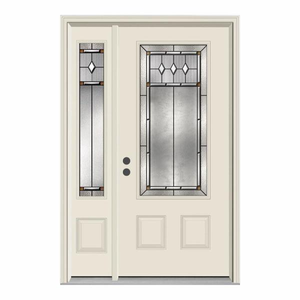 52 in. x 80 in. 3/4 Lite Mission Prairie Primed Steel Prehung Right-Hand Inswing Front Door with Left-Hand Sidelite
