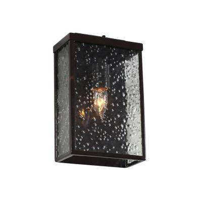 Mission You 1-Light Glossy Bronze Outdoor Sconce with Pressed Glass