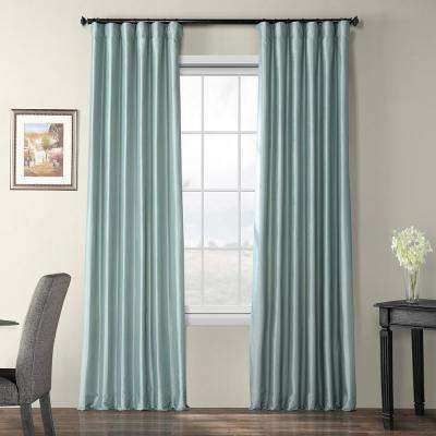 Robins Egg Blue Blackout Faux Silk Taffeta Curtain - 50 in. W x 96 in. L