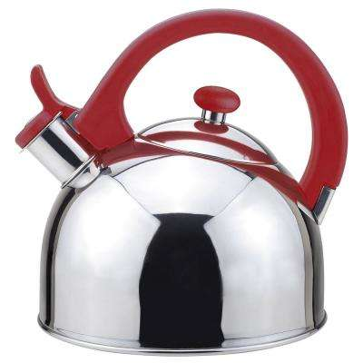 Acacia 2 Qt. Stainless Steel Stovetop Tea Kettle with Whistle in Red