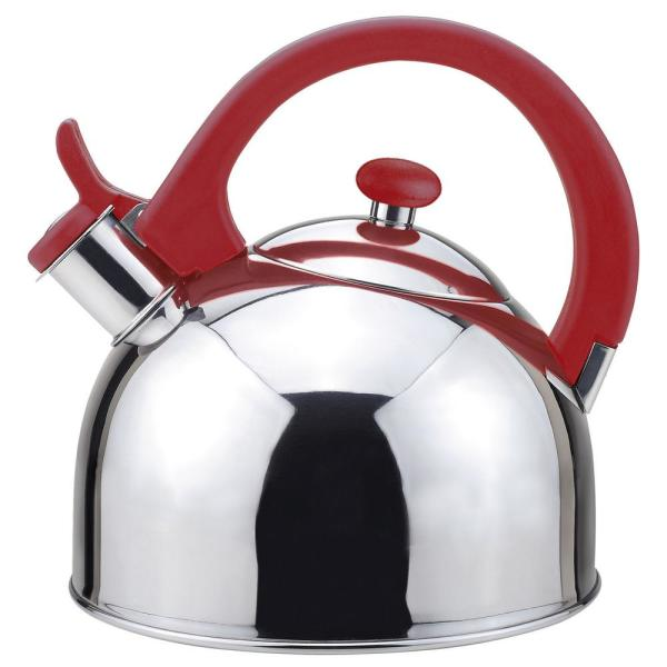 Magefesa Acacia 2 Qt. Stainless Steel Stovetop Tea Kettle with Whistle in Red