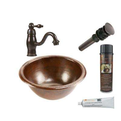 All-in-One Small Round Self Rimming Hammered Copper Bathroom Sink in Oil Rubbed Bronze
