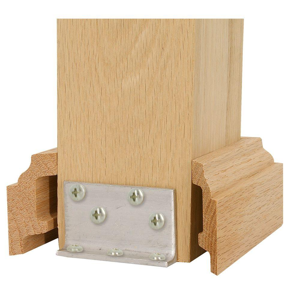 High Quality Stair Parts 5 In. Unfinished Oak Box Newel Attachment Kit