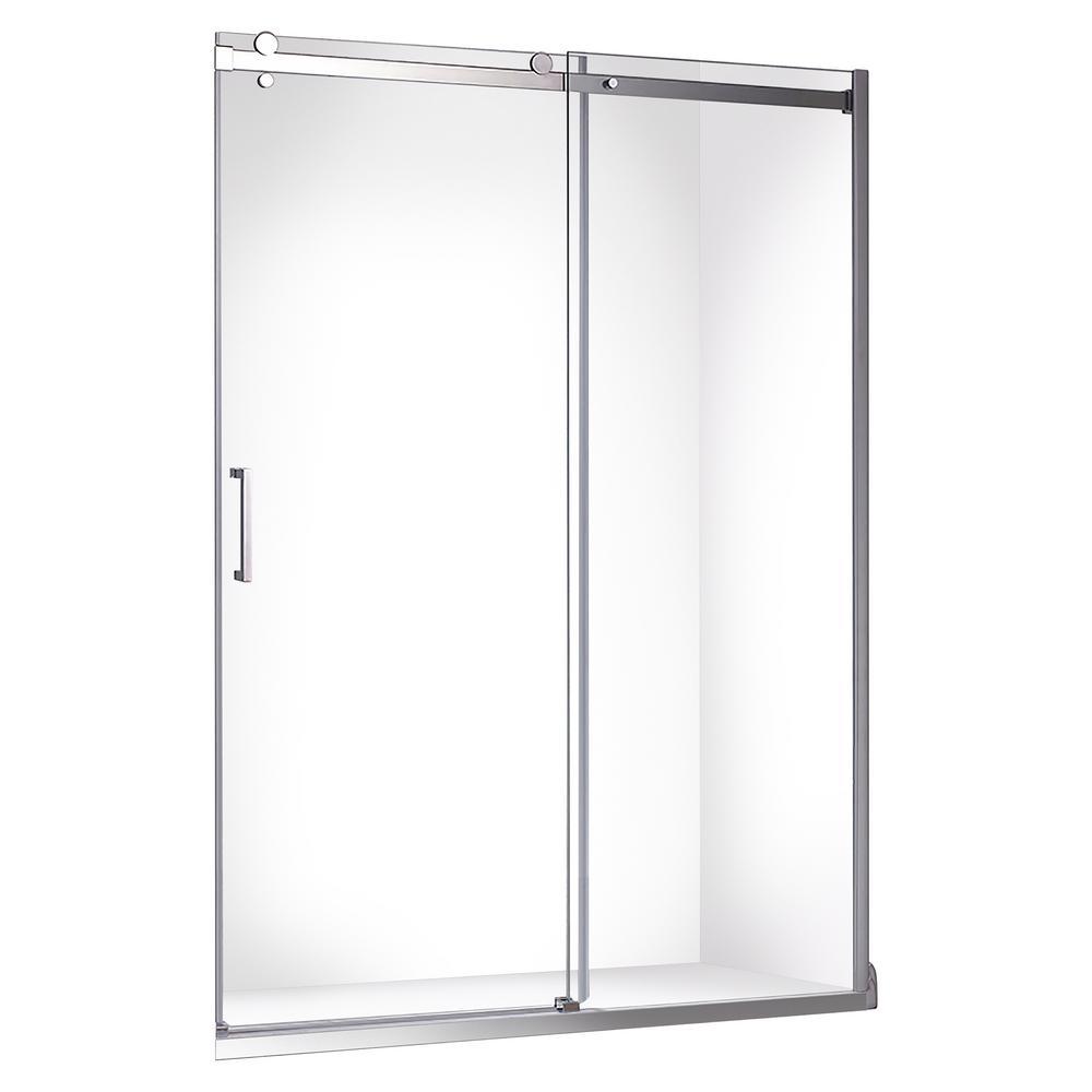 Quartz 48 in. x 78.75 in. Frameless Sliding Shower Door in Chrome
