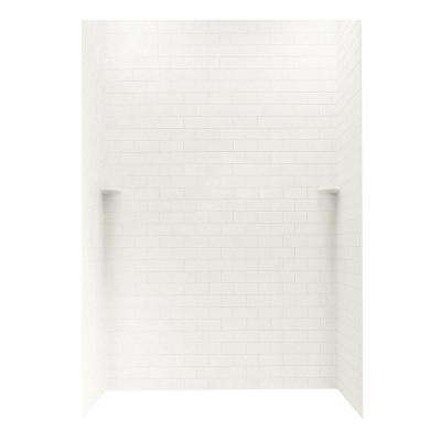 Subway Tile 36 in. x 62 in. x 96 in. 3-Piece Easy Up Adhesive Alcove Shower Surround in Tahiti White