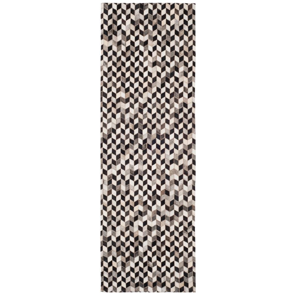 Studio Leather Gray/Black 2 ft. 3 in. x 7 ft. Runner Rug