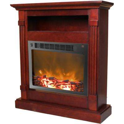 Drexel 34 in. Electric Fireplace with 1500-Watt Log Insert and Mahogany Mantel