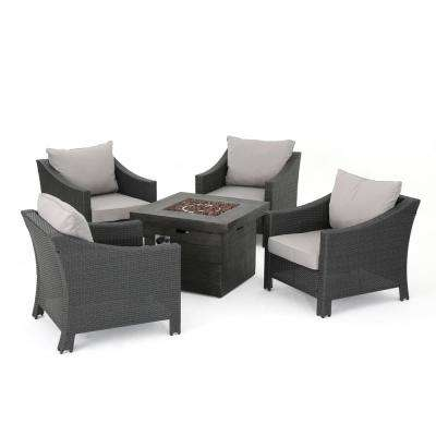 Natasha Grey 5-Piece Wicker Patio Fire Pit Conversation Set with Silver Cushions