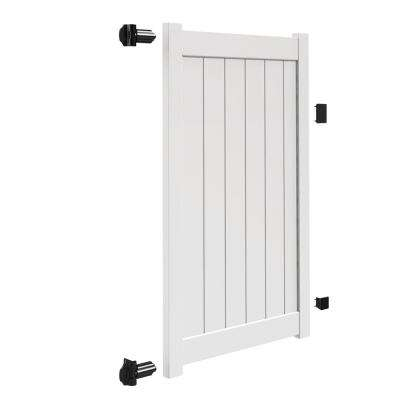 Bryce and Washington Series 4 ft. W x 6 ft. H White Vinyl Un-Assembled Fence Gate
