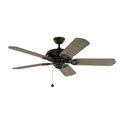 York 52 in. Aged Pewter Ceiling Fan with Light Grey Weathered Oak Blades with Pull Chain