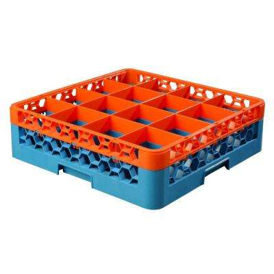 19.75x19.75 in. 16-Compartment Extender Glass Rack (for Glass 4.19 in. Diameter, 4.75 in. H) in Blue/Org (Case of 4)