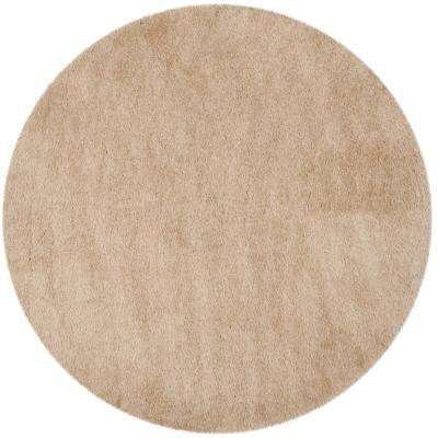 Venice Shag Champagne 6 ft. x 6 ft. Round Area Rug