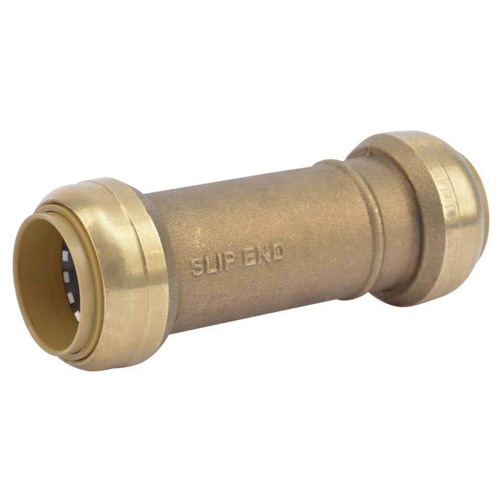 Sharkbite in brass push to connect slip coupling