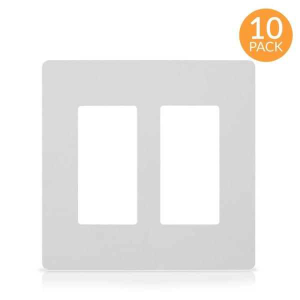 2-Gang Decorator Screwless Wall Plate, GFCI Outlet/Rocker Light Switch Cover, Two Gang, White (10-Pack)