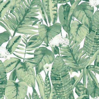 Tropical Jungle Green Self-Adhesive Removable Wallpaper