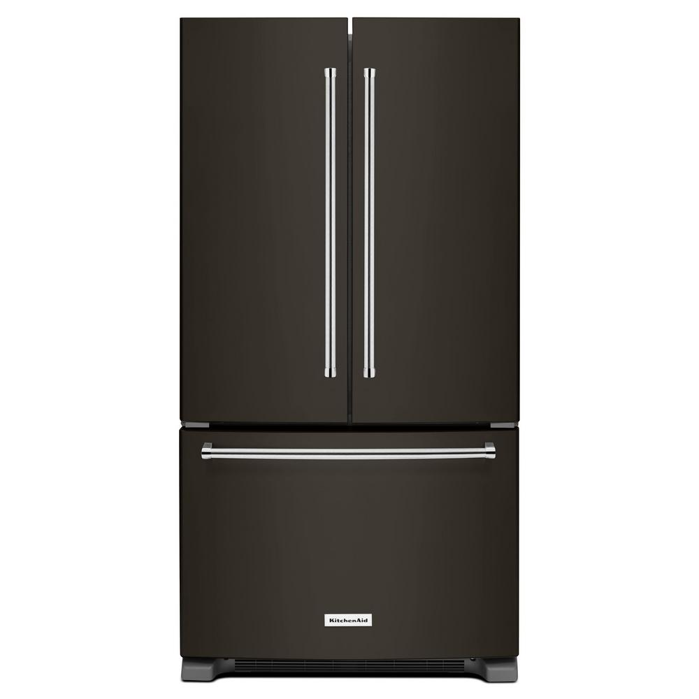 Kitchenaid 25 2 Cu Ft French Door Refrigerator In Black Stainless