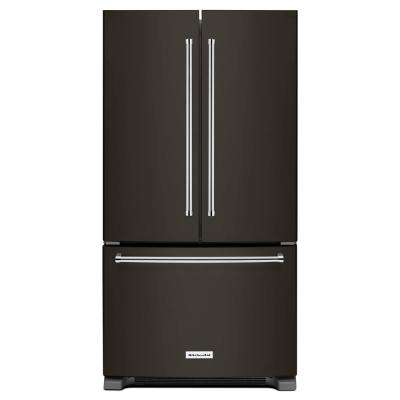 36 in. W 25.2 cu. ft. French Door Refrigerator in Black Stainless