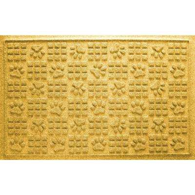Yellow 24 in. x 36 in. Dog Paw Squares Pet Mat
