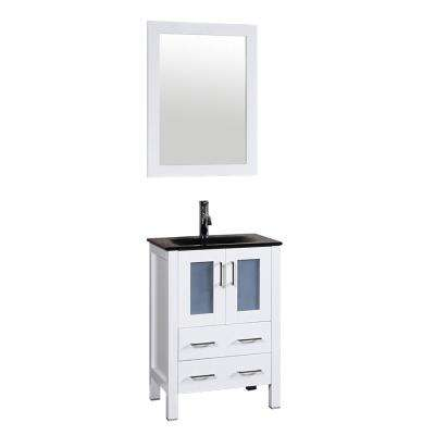 W Single Bath Vanity In White With Tempered Glass Vanity Top With Black  Basin, Polished Chrome Faucet And Mirror