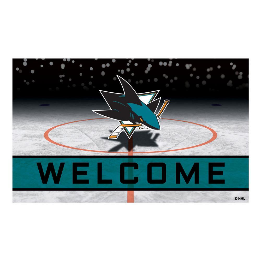 NHL - San Jose Sharks 18 in. x 30 in. Rubber Door Mat