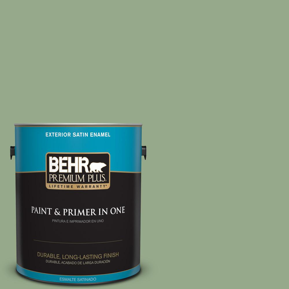 1 gal. #PPU11-05 Pesto Green Satin Enamel Exterior Paint