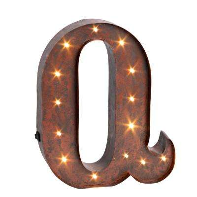 "12 in. H ""Q"" Rustic Brown Metal LED Lighted Letter"