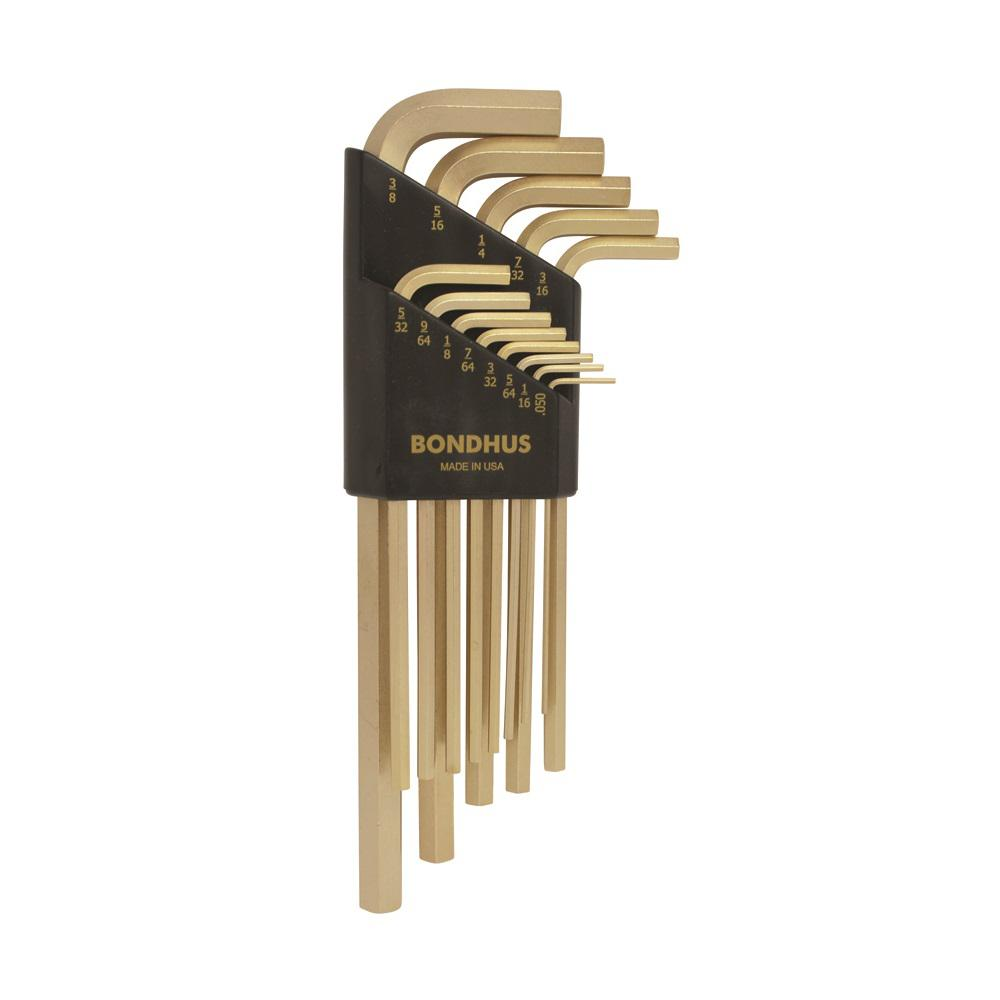 Bondhus 38274 Tagged and Barcoded 9mm Hex Tip Key L-Wrench with GoldGuard Finish 102mm