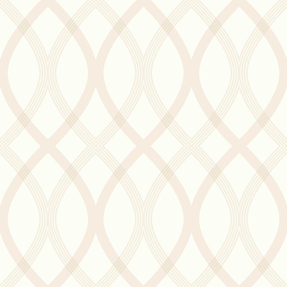 Contour Beige Geometric Lattice Wallpaper